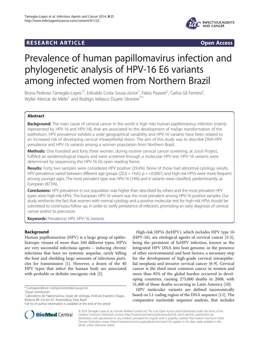 human papillomavirus infection variants