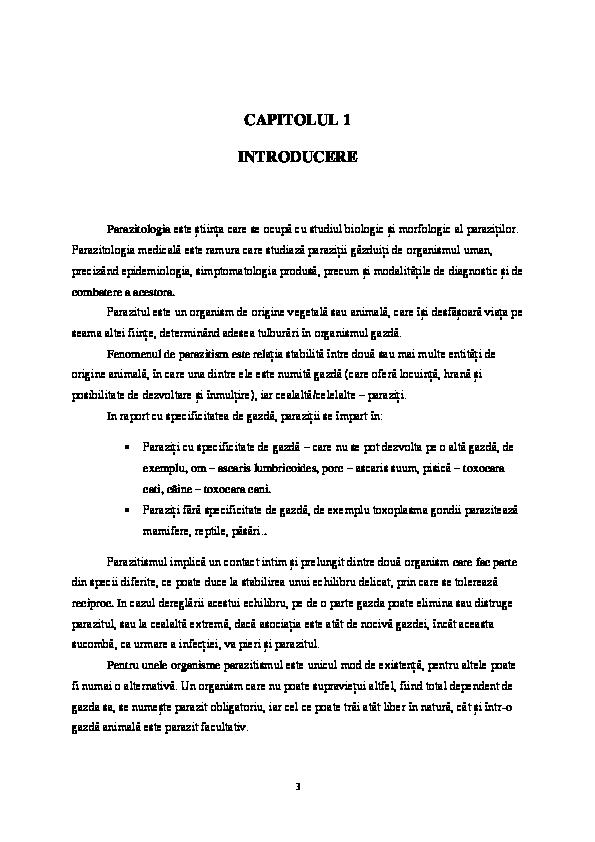 stadii parazitare