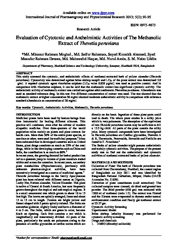 Anthelmintic activity of nerium oleander. Mult mai mult decât documente.