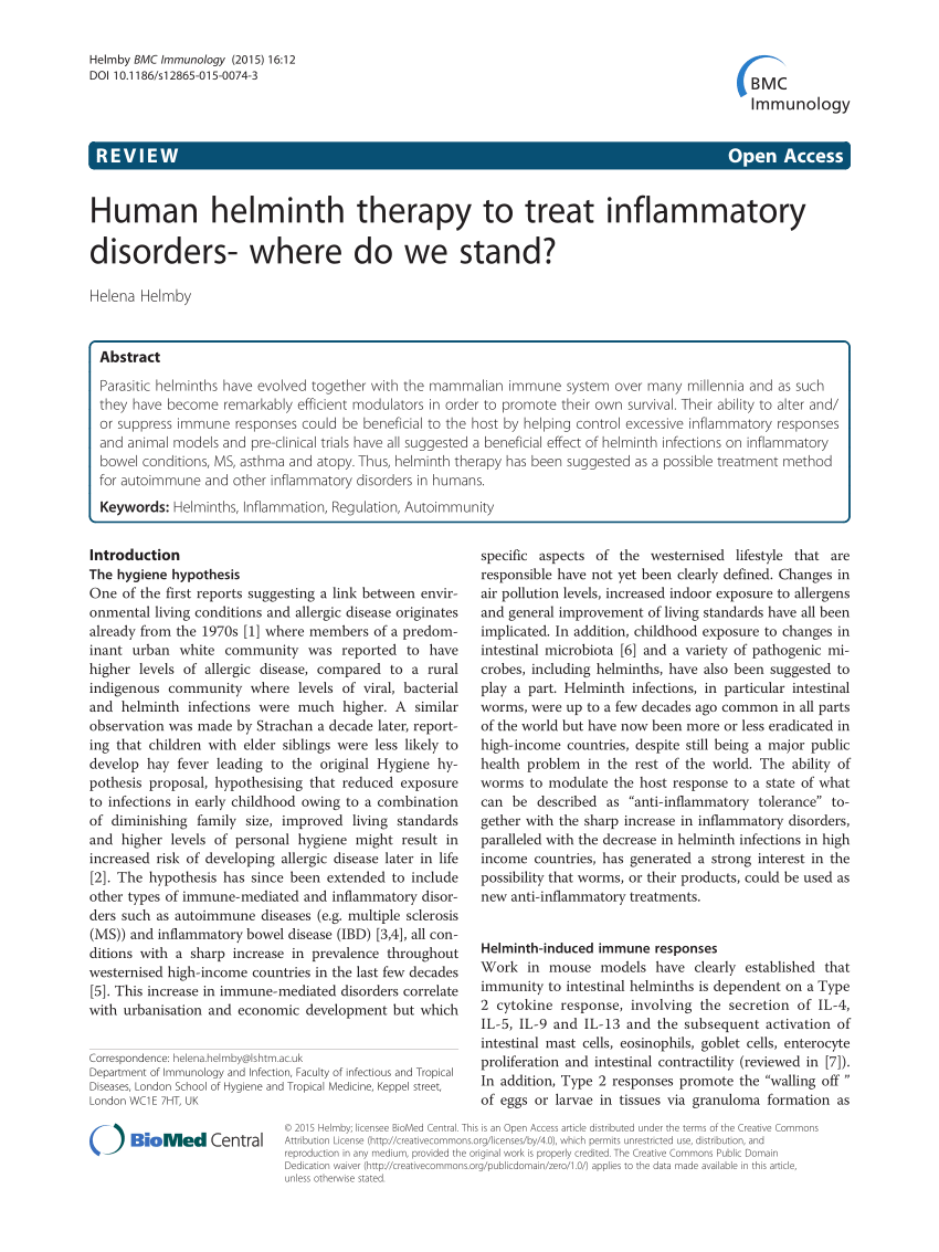 Helminth therapy infections, Helminthic therapy treatment